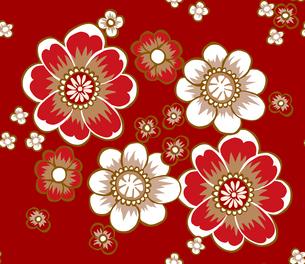 和柄モチーフ、赤い花のパターン FYI00227118