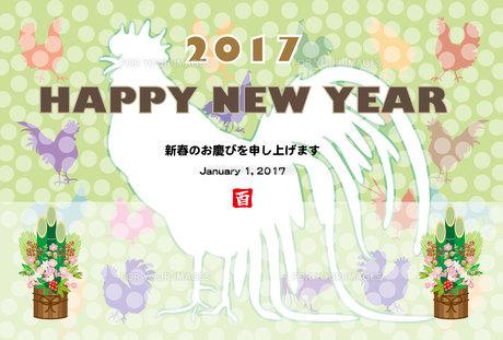 2017年酉年のイラスト年賀状テンプレート FYI00253097
