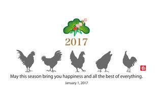 2017年酉年のニワトリのシンプルなイラスト年賀状テンプレート FYI00253111