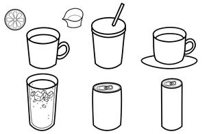 飲み物イメージ6種類(モノクロ) FYI00308061