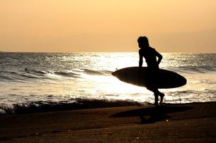 夕暮の海に入って行くサーファー FYI00310867