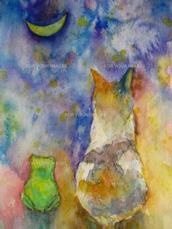 ネコとカエルのお月見 FYI00333657
