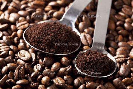 コーヒー豆と計量スプーン FYI00334268