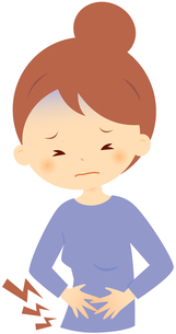腹部の痛みに耐える女性 FYI00439733