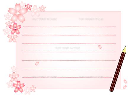 桜と便箋と鉛筆のイラスト Fyi00456062 気軽に使える写真イラスト