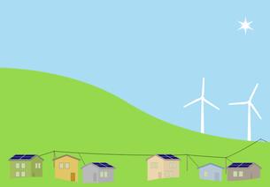 太陽光発電と風力発電がある住宅街 FYI00466274