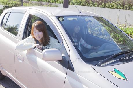 初心者マークを貼って運転する女性 FYI00468302