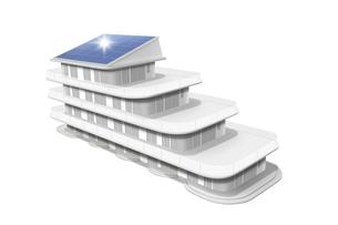 ソーラーパネルがついた白いマンションの模型 FYI00469133