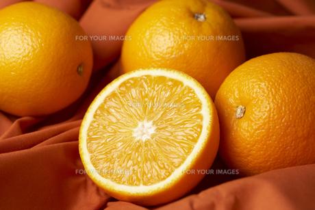 布の上に置いたオレンジ FYI00470758