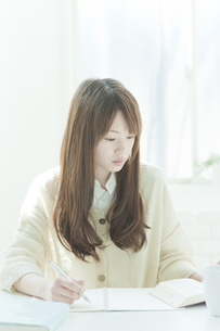 机で勉強する若い日本人女性 FYI00474030