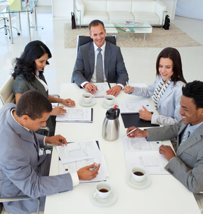 Business people discussing in a meeting FYI00482108