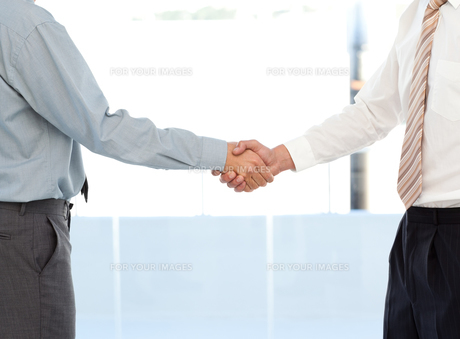 Close up of two businessmen concluding a deal by shaking their handsの素材 [FYI00483410]