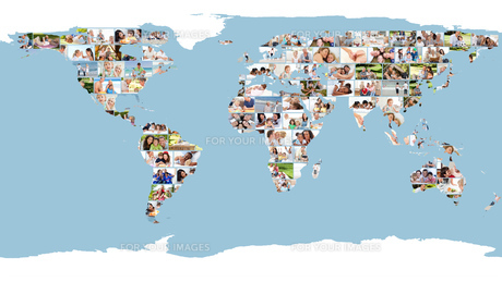 Illustrated world map made of pictures FYI00484671