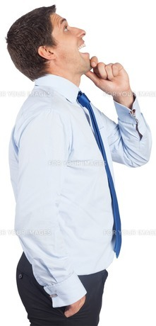 Thinking businessman touching his chin FYI00485951