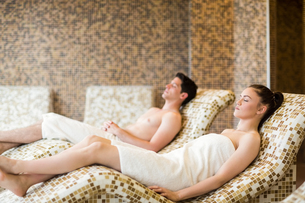 Couple relaxing in the thermal suite FYI00486154