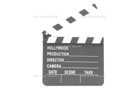 Film slate standing against white background FYI00486605