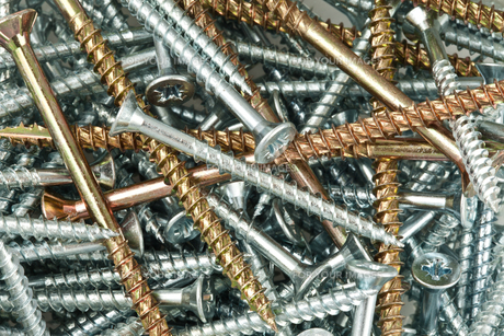 Copper and silver screws and nailsの素材 [FYI00486700]