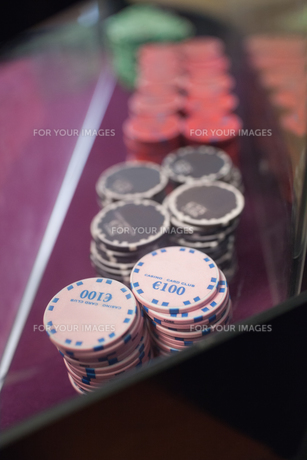 Chips on the table in a casino FYI00486763