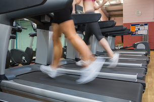 Two people running on treadmills in the gym FYI00486864
