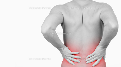 Man showing that he has pain in his back FYI00487475