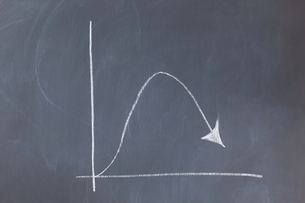 Simple graph on a blackboard showing a curve FYI00487718