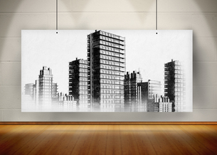 Picture of black and white city painted on screen FYI00488070
