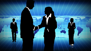 Man and woman showing  teamwork in busines concept FYI00488169