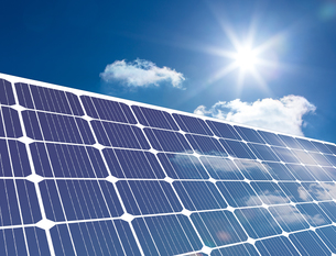 Solar panel reflecting sunlight FYI00488327