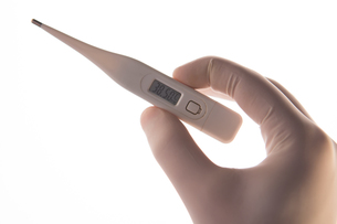 Gloved hand holding digital thermometerの素材 [FYI00488408]