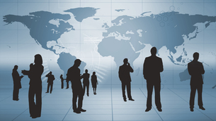 Silhouettes of business people at work FYI00488604