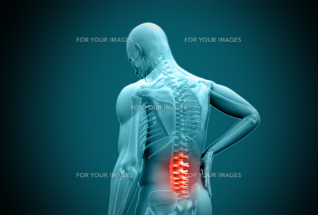 Digital blue human rubbing highlighted back pain FYI00488612