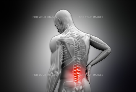 Digital grey human rubbing highlighted red back pain FYI00488633