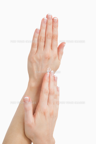 Closeup of french manicured fingers FYI00488680