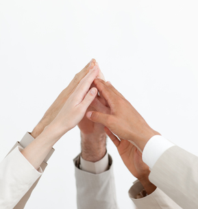 Close up of hands up showing positivetyの素材 [FYI00488804]