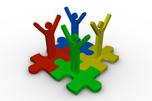 Group of meshed jigsaw pieces with colorful human representation FYI00488902