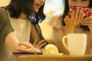 カフェでスマホを見る女性2人の素材 [FYI00491569]
