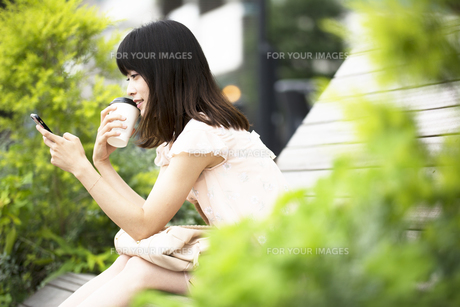 スマホを見る笑顔の女性の素材 [FYI00491596]