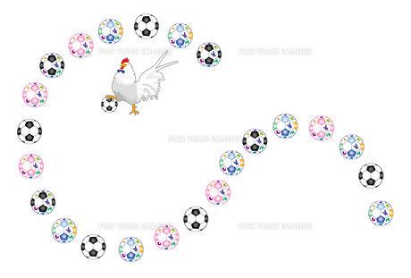 ニワトリとサッカーボールのおしゃれなポストカード FYI00493069