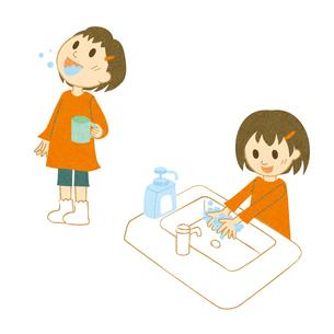 うがい、手洗いする女の子 FYI00495963