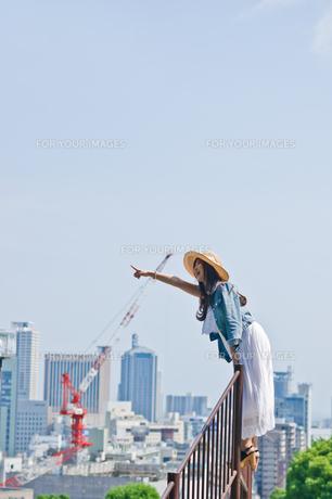 柵に登り遠くを指差す女性 FYI00603666