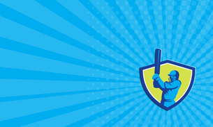 Business card Cricket Player Batsman Batting Shield Retro FYI00637710