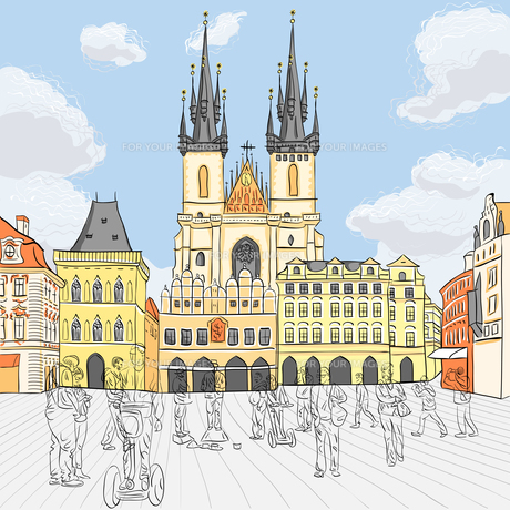 Vector Old Town square in Prague, Czech Republicの素材 [FYI00642827]