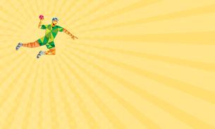 Business card Handball Player Jumping Throwing Ball Low Polygon FYI00644244