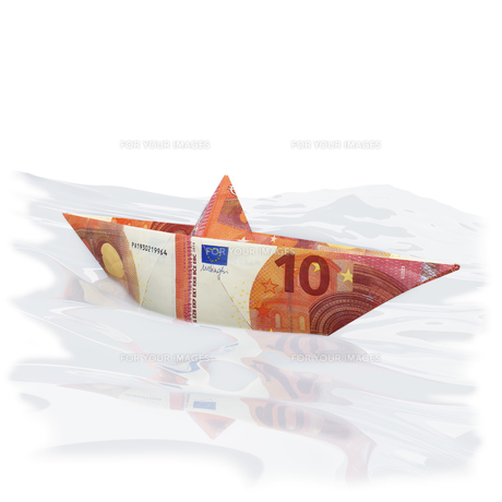 paper boat made of a 10 euro note FYI00648178