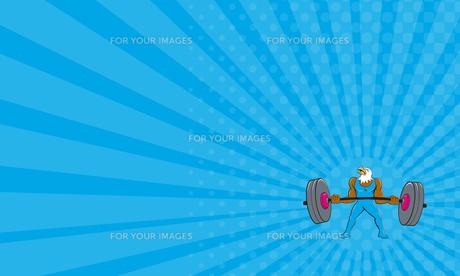 Business card Bald Eagle Weightlifter Lifting Barbell Cartoon FYI00648390
