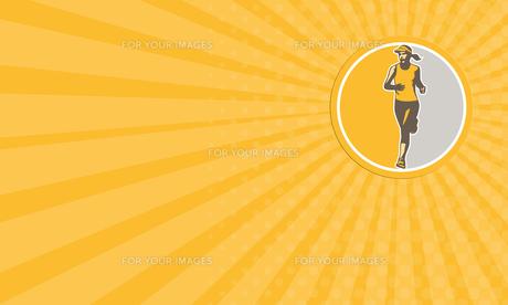 Business card Female Triathlete Marathon Runner Circle Retro FYI00653229
