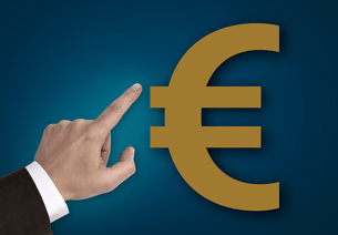 hand pointing at euro sign concept FYI00655293