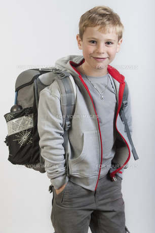 6-year-old boy with satchel FYI00655352