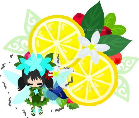 可愛い妖精とレモンのオブジェのイラスト FYI00655674