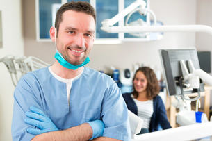 Portrait of a young attractive dentist in his office FYI00659646